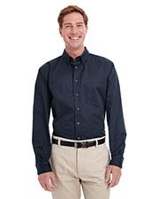 Harriton M581T Men Tall Foundation 100% Cotton Long-Sleeve Twill Shirt With Teflon  at GotApparel