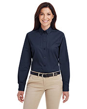 Harriton M581W Women Foundation 100% Cotton Long-Sleeve Twill Shirt With Teflon  at GotApparel
