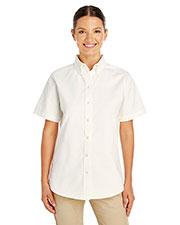 Harriton M582W Women 100% Cotton Short-Sleeve Twill Shirt at GotApparel