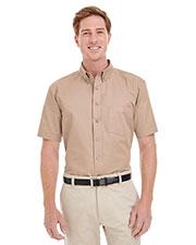 Harriton M582 Men Foundation 100% Cotton Short-Sleeve Twill Shirt Teflon  at GotApparel