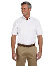Harriton M600S Men Short-Sleeve Oxford With Stain-Release at GotApparel