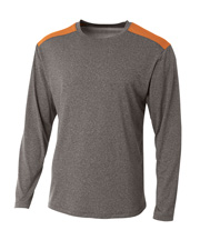 A4 N3101 Men Tourney Heather Long Sleeve Colo Block C at GotApparel