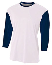 A4 N3294 Men Baseball Tee With 3/4-Sleeves at GotApparel