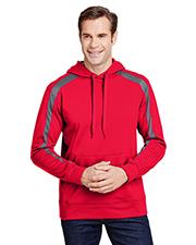 A4 N4004 Men 6 oz Spartan Tech-Fleece Color Block Hooded Sweatshirt at GotApparel