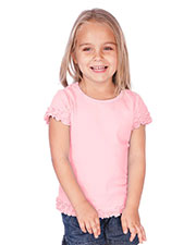 Little Girls 3-6X Crew Neck Lettuce Edge Short Sleeve at GotApparel