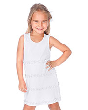 Little Girls 3-6X A-Line Lettuce Edge Ruffles Scoop Neck Sleeveless Dress at GotApparel