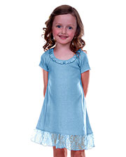 Little Girls 3-6X Lace Trim A-Line Short Sleeve Dress at GotApparel