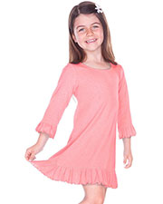 Girls 3-6X Ruffled 3/4 Sleeve A-Line Dress at GotApparel
