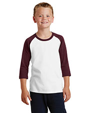 Port & Company PC55YRS Boys 50/50 Cotton/Poly 3/4-Sleeve Raglan T-Shirt at GotApparel