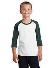 Port & Company PC55YRS Boys 50/50 Cotton/Poly 3/4-Sleeve Raglan T-Shirt at GotApparel