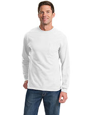 Port & Company PC61LSP Men Long-Sleeve Essential T-Shirt With Pocket at GotApparel