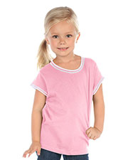Little Girls 3-6X Contrast Rolling Raw Edge Short Sleeve at GotApparel