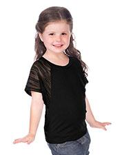 Little Girls 3-6X Scoop Neck Contrast Raglan Dolman Short Sleeve at GotApparel