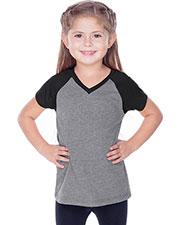 Little Girls 3-6X Sheer Jersey Contrast V Neck Raglan Short Sleeve at GotApparel