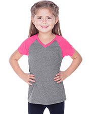 Little Girls 3-6X Sheer Jersey Contrast V Neck Raglan Short Sleeve at GotApparel