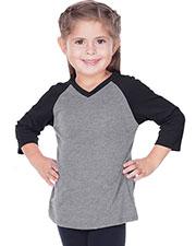 Little Girls 3-6X Sheer Jersey Contrast V Neck Raglan 3/4 Sleeve at GotApparel