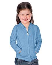 Little Girls 3-6X Jersey Long Sleeve Zip Up Hoodie at GotApparel