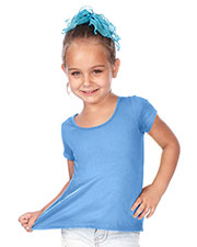 Little Girls 3-6X Jersey Scoop Neck High Low Short Sleeve at GotApparel