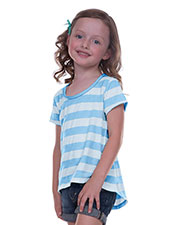 Little Girls 3-6X Striped Jersey Scoop Neck High-Low Short Sleeve at GotApparel