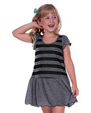 Little Girls 3-6X Striped Jersey Scoop Neck Flutter Sleeve Dress at GotApparel
