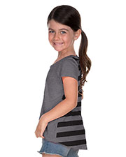 Little Girls 3-6X Striped Jersey Contrast Back High Low Short Sleeve at GotApparel