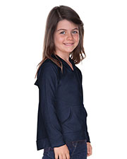 Girls 3-6X Jersey RawEdge High Low Long Sleeve Hoodie w.Pouch at GotApparel