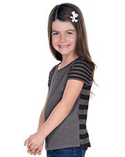 Girls 3-6X Striped Jersey Multi Contrast Short Sleeve at GotApparel