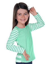 Girls 3-6X Striped Jersey Multi Contrast Long Sleeve at GotApparel