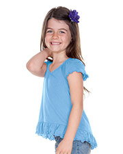 Girls 3-6X Sheer Jersey High Low Flutter Top at GotApparel