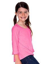 Little Girls 3-6X Sheer Jersey Ruffled 3/4 Sleeve High Low Top at GotApparel