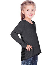 Girls 3-6X Contrast Mini Striped Back High Low Long Sleeves at GotApparel