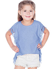 Girls 3-6X Sheer Jersey Raw Edge Side Fringe Asymmetrical Cap Sleeve CropTop at GotApparel