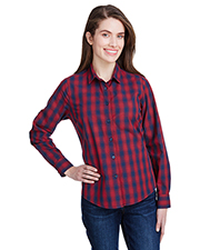 Artisan Collection by Reprime RP350 Ladies 3.7 oz Mulligan Check Long-Sleeve Cotton Shirt at GotApparel