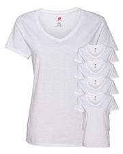 Hanes S04V Women 4.5 Oz. 100% Ringspun Cotton Nano-T V-Neck T-Shirt 5-Pack at GotApparel
