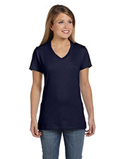 Hanes S04V Women 4.5 Oz. 100% Ringspun Cotton Nano-T V-Neck T-Shirt at GotApparel