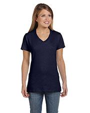 Hanes S04V Women 4.5 Oz. 100% Ringspun Cotton Nano-T V-Neck T-Shirt at GotApparel