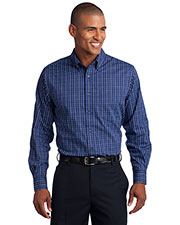 Port Authority TLS642 Men Tall Tattersall Easy Care Shirt at GotApparel