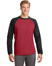 Sport-Tek® ST242 Adult Raglan Colorblock Fleece Crewneck at GotApparel