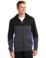 Sport-Tek® ST245 Men Tech Fleece Colorblock Full-Zip Hooded Jacket at GotApparel
