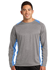 Sport-Tek® ST361LS Men Long-Sleeve Heather Colorblock Contender   Tee at GotApparel