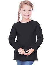 Toddlers French Terry Crew Neck Raw Edge Raglan Long Sleeve at GotApparel