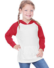 Toddler Jersey Contrast Raglan Long Sleeve Hooded Top w. Pouch at GotApparel