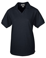 Tri-Mountain 101 Women Venice V-Neck Pique Short-Sleeve Golf Shirt at GotApparel