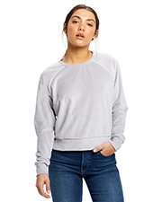 US Blanks US538 Ladies 7.6 oz Velour Long Sleeve Crop T-Shirt at GotApparel