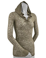 Women 2XL Burnout Raw Edge Long Sleeve Pullover Hoodie at GotApparel