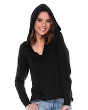 Women Sheer Jersey V-Neck High-Low Long Sleeve Hoodie at GotApparel