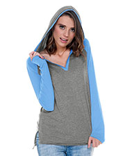 Women 2XL Jersey V-Neck Raglan High-Low Long Sleeve Hoodie at GotApparel
