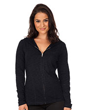 Women Slub Jersey Long Sleeve Zip Hoodie W. Penny Pocket at GotApparel