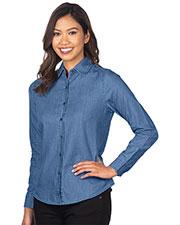 Tri-Mountain WL825 Women Long Sleeve Denim Shirt at GotApparel
