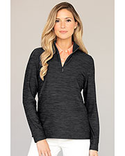 Greg Norman WNS9K060 Women 's  Play Dry Heather 1/4-Zip Mock Neck at GotApparel